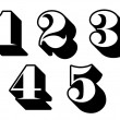 Black and white numbers digits 1, 2, 3, 4, 5 — Vettoriali Stock