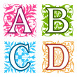 A, B, C, D, alphabet letters floral elements — Stock Vector