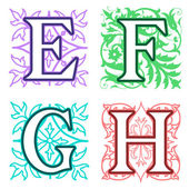 E, F, G, H, alphabet letters floral elements — Stock Vector