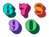 Colorful ciphers numbers digits 6, 7, 8, 9, 0 — Stock Vector