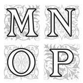 M, N, O, P alphabet letters with floral elements — ストックベクタ