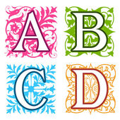 A, B, C, D, alphabet letters floral elements — Stock vektor