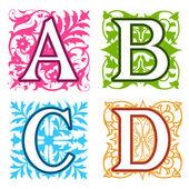 A, B, C, D, alphabet letters floral elements — 图库矢量图片