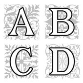 A, B, C, D alphabet letters with floral elements — Stock Vector