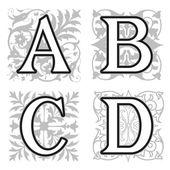 A, B, C, D alphabet letters with floral elements — ストックベクタ