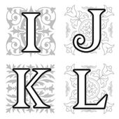 I, J, K, L alphabet letters with floral elements — Stock Vector