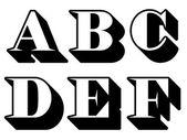 Alphabet letters serif A, B, C, D, E, F — Stock Vector