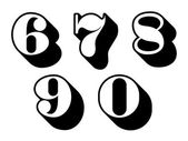 Black and white numbers digits 6, 7, 8, 9, 0 — Stock Vector