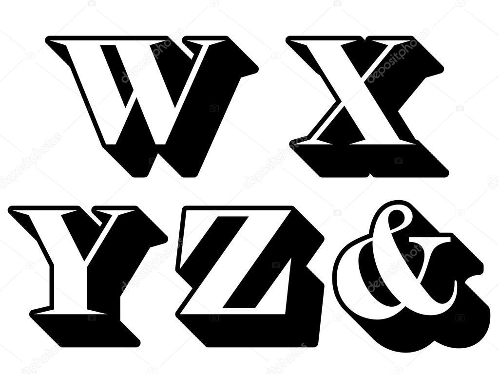 alphabet buchstaben serif w x y z kaufmännisches