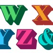 Colorful alphabet letters W, X, Y, Z, ampersand — Векторная иллюстрация