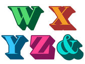 Alfabeto colorido letras w, x, y, z, e comercial — Vetor de Stock