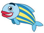Schattig grijnzende vis met rode lippen — Stockvector