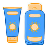 Sun cream packaging and suntan lotion — Stock Vector
