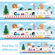Stock Vector: Kids puzzle ship to spot 12 differences
