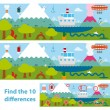 Kids puzzle of a lake and mountains difference — Stock Vector