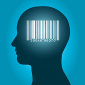 Consumer barcode in a male head — Stock Vector