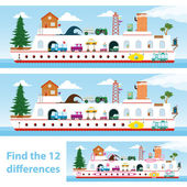 Kids puzzle ship to spot the 12 differences — Stock Vector