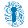Stock Vector: Fingerprint over lock keyhole