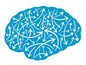 Brain with multidirectional arrows — Vector de stock