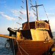 Stock Photo: Wooden schooner on sea