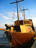 Wooden schooner on the sea — Stock Photo