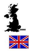 Mappa nero di gran bretagna e la sua bandiera — Foto Stock