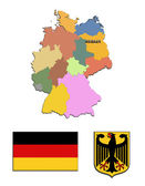 The map, flag and the arms of Germany — Stock Photo