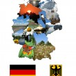 Stock Photo: Map of regions and arms of Germany