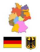 The map and the arms of Germany — Stock Photo