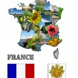 Stock Photo: Map and arms of France with images