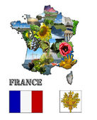 The map and the arms of France with images — Stock Photo