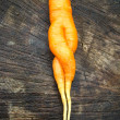 Unusual carrot lying on a stub — Stock Photo