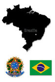 Black map of Brazil with its state symbols — Stock Photo