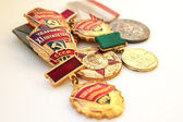 Die sowjetischen medaillen für tapferer arbeit — Stockfoto