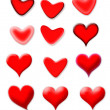 Stock Photo: Set of red hearts with different shapes