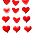 Set of red hearts with different shapes — Stock Photo