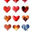 Set of different hearts on the white background — Stock Photo