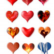 Foto de Stock  : Set of different hearts on white background