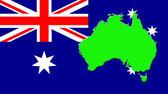 Карта Австралии на фоне его флагом — Стоковое фото