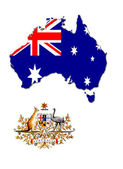 The map, flag and the arms of Australia — Stock Photo