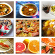 Collage from photos of various dishes — Stock Photo