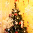 Стоковое фото: Harmonous fur-tree with snowflakes