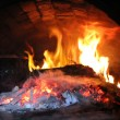 Stock Photo: Flame in furnace with pig-iron