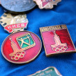 Set of Soviet badges about olympiad in Moscow 1980 — Stock Photo #26146489
