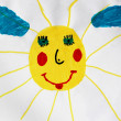 Children's drawing with nice and fun sun — Stock Photo
