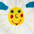 Children's drawing with nice and fun sun - Stock Photo