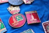 Set of Soviet badges about olympiad in Moscow 1980 — Stock Photo