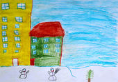 Children's drawing of houses and snowmen — Stockfoto