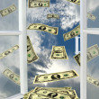 Stock Photo: Window to heaven and dollars flying away