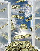 Window to the heaven and dollars flying away — Stock Photo